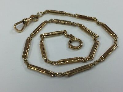 "HERALDIC Antique 1/20 12kt Yellow Gold Filled Pocket Watch Chain Fob 13"" Length"