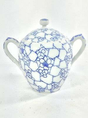 Chinese 19th C Export Blue & White Porcelain Double Hande Sugar Bowl