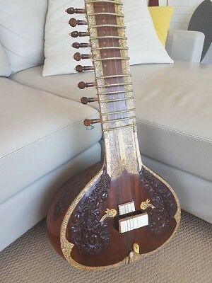 Sitar - Handmade in India By A Master Includes Hard Travel Case Extra Strings
