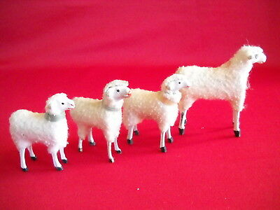 4 antique wooly sheeps, sticky legs, Germany