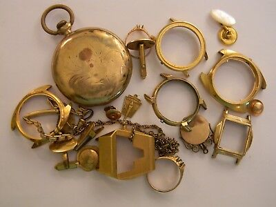 VINTAGE 171g GOLD FILLED PLATED WATCH CASES JEWELRY PARTS - SCRAP RECOVERY