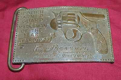 Old Polish Armed Guard Marksman Award Brass Belt Buckle Vintage UK English 70s