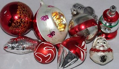 VINTAGE Lot of 9 Glass Ornaments, Red, Silver, Germany Poland USA Austria COOL!!