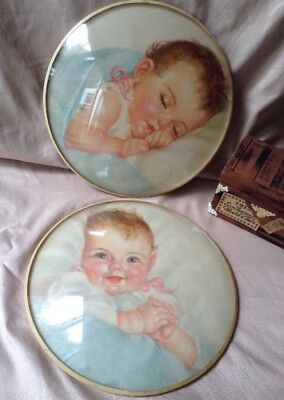 Vintage Charlotte Becker Baby Lithograph Round Concave Bubble Glass Frame Prints