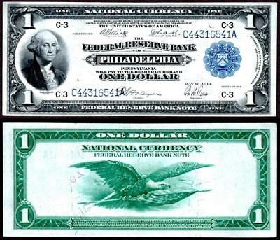 1918 $1~Large Size~National Currency Note Philadelphia~Crisp Almost Uncirculated