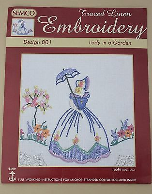 Rare Semco Traced linen Embroidery Runner- Lady in a garden - to embroider.