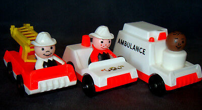 Fisher-Price Little People Fire Truck, Ambulance, Chief's Car & Firemen + Doctor