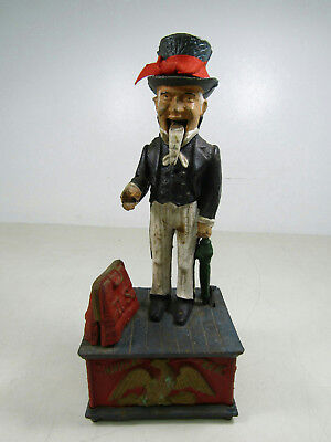 Antique Cast Iron Uncle Sam Mechanical Piggy Bank Working