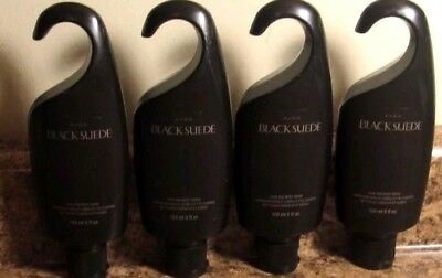 AVON Mens Black Suede Shower Gel Hair and Body Wash LOT of 6  NEW  Fresh