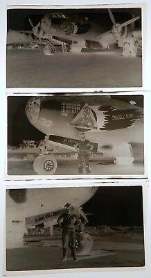 Vtg WWII 6th Bomb Group Nose Art PHOTO NEGATIVES B29 Bomber Plane Snuggle Bunny
