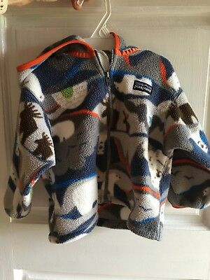 Patagonia Boys Baby Fleece, Size 18 Months, Bear and Moose Print