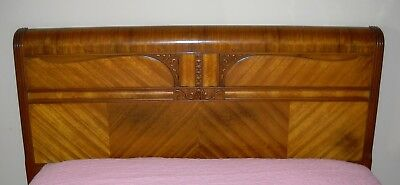 Art Deco Waterfall Vintage 4 Piece Bedroom Set, Full Size Bed