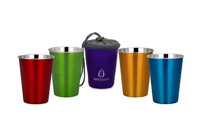 Ecococoon Stainless Steel Cup Set of 4 - TROPICALE plus Purple Cuddler