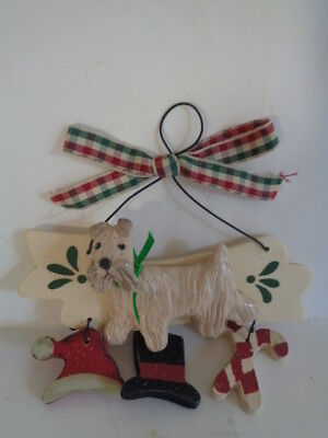***new~Wheaten Terrier Wood Christmas Ornament~Huge Pre-X-Mas Ornament Sale!****