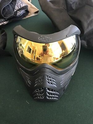 Black Vforce Grill Paintball Mask With hdr lens and new grey replacement lens