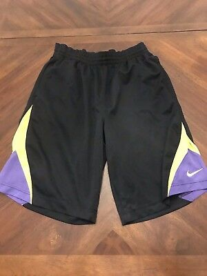 Nike Dri-Fit Basketball Athletic Running Shorts Black Purple Yellow Size M