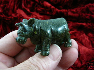 (Y-COW-702) COW cows dairy GREEN GEMSTONE figurine CARVING stone