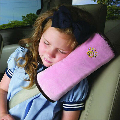 Child Pink Car Vehicle Seat Belt Harness Shoulder Cover Cushion Head Support