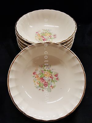 LOT antique 5pc W.S. GEORGE BOLERO china CEREAL BOWLS floral gold trim 6.25x1.75
