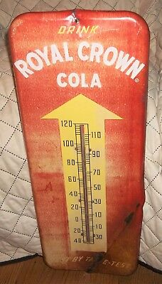 "Rare Vintage 1953 ? RC Drink Royal Crown Cola Soda 25"" Metal Thermometer Sign &"