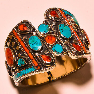 Ethnic Turquoise With Red Coral, Lapis Lazuli .925 Silver Gemstone Jewelry Cuff