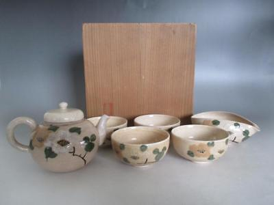 Japanese old Kiyomizu ware tea set w/sign & box/ nice hand-painting/ teapot 7162