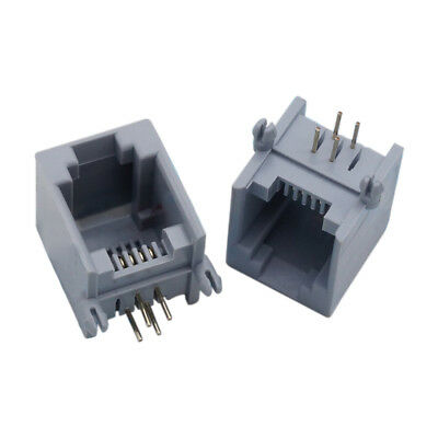 15 sheets RJ 11 6P 4 C 6 Position 4 Contact connector PCB phone jack Gray Z S4Q1