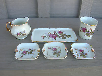 Vintage Miniature Rose Pattern Creamer ~ 3 Ashtrays ~ Serving Tray & Cup ~ Japan