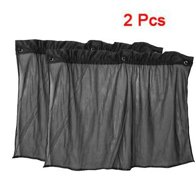 2 Pcs Suction Cup Black Mesh Window Curtains Car Sun Shade 80 cm x 51 cm Z1 O0G2