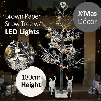 180cm XMas Brown Paper Birch Christmas Snow Tree w/ LED Warm Lights