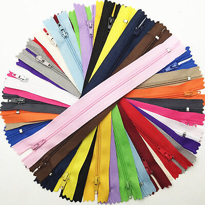 10/40pcs Coloful Zippers 9'' Nylon Tailor Sewing Clothes Bag Garment Accessory C