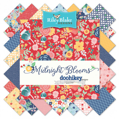 Quilting Fabric Charm Pack - Midnight Blooms - Riley Blake Fabrics