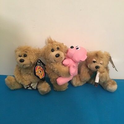 """3 Bad Taste Bears novelty collectible plush 6"""" New W/ Tags Rare Discontinued"""