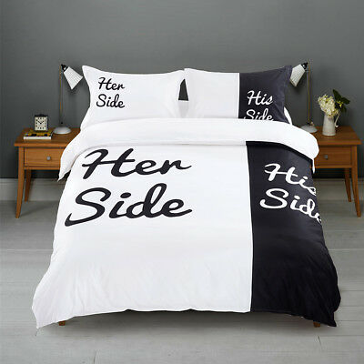 Lover His and Her Side Black / White King Bed Size Duvet Quilt Cover Bedding Set
