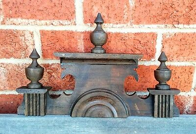 Vintage Wooden Clock Topper With Wooden Finials / Clock Crown / Clock Parts