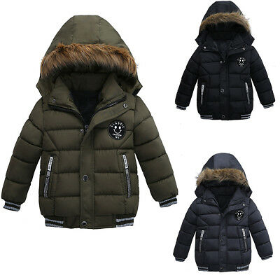 Kids Boys Winter Warm Cotton-Padded Coats Hooded Thick Down Jackets Outwear gift