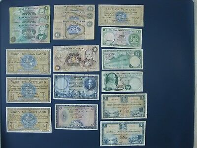 18No. £1/5/10 BANKNOTE COLLECTION/BULK LOT~BANK OF SCOTLAND, CLYDESDALE, ROYAL