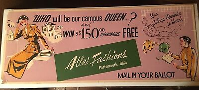 Cool Retro Fashion Advertising Poster 1960s or 1950s Portsmouth, Ohio