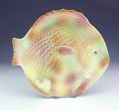 Vintage Shorter & Sons Pottery - Hand Painted Fish Formed Plate - Art Deco!