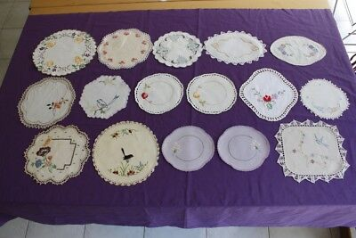16 SMALL VINTAGE DOILIES Linen Embroidered & Crocheted #46