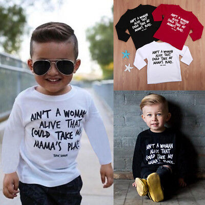 2017 Kids Boys Baby Letter Print Long Sleeve Tops T Shirt Clothes Tee Blouse
