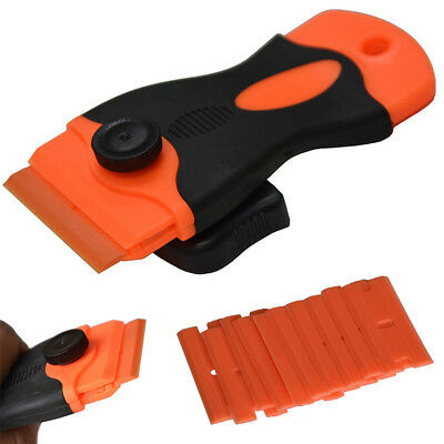 1pc Handled Scraper +10pcs Plastic Double Edged Razor Blades Removal Tool New