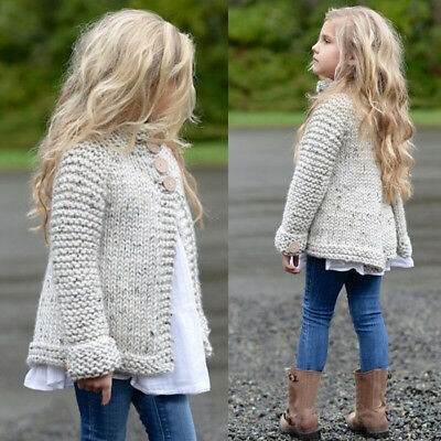 US Stock Cute Girls Long Sleeve Cloak Sweaters Knitwear Coat Clothes Outfit 1-8Y