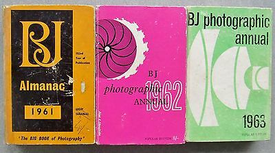 3 x BRITISH JOURNAL OF PHOTOGRAPHY PHOTOGRAPHIC ALMANACS 1961, 1962 & 1963.