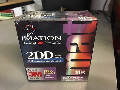 """Box of 10 x Imation 2DD IBM Formatted 720kb 3.5"""" Double Density Diskettes - NEW"""