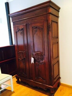 Solid Mahogany French Style Armoire / Cupboard