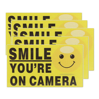 "5x ""Smile You're On Camera"" Self-adhesive Video Alarm Warning Stickers Sign D1W0"