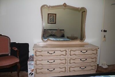 Dressing table with mirror and matching bedside drawers