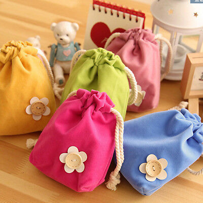 Candy Colors Small Drawstring Bag Jewelry Bags Pouch Purse Coin Case Gift