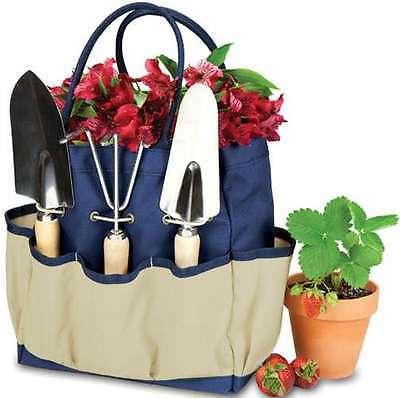 Large Gargen Tote Stain Resistant Outdoor Bag w/ 3 Planting Tools Pocket Navy